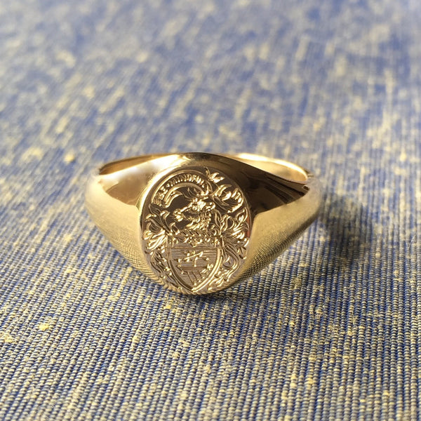 Family Coat of Arms Surface Engraved 13mm x 11mm  -  9 Carat Yellow Gold Signet Ring