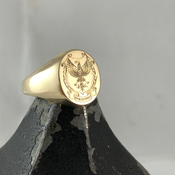 Family Coat of Arms Surface Engraved 16mm x 13mm Oval -  9 Carat Yellow Gold Signet Ring