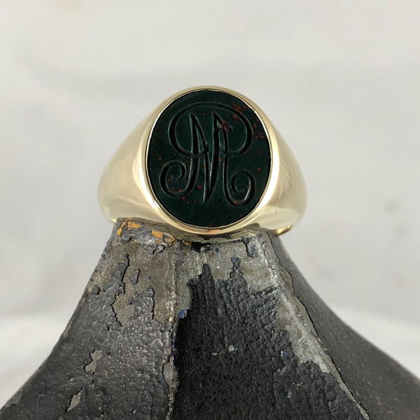 Seal Engraved Monogram Bloodstone Custom Made 16mm x 13mm  -  9 Carat Yellow Gold Signet Ring