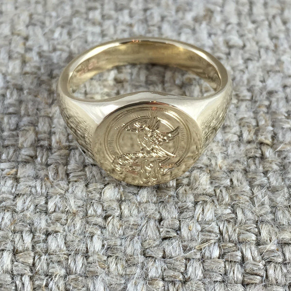 Family Clan Badge Engraved 13mm x 11mm  -  18 Carat Yellow Gold Signet Ring