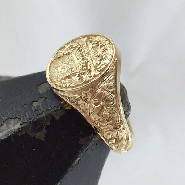 Deep Engraved -  9 Carat Yellow Gold Signet Ring