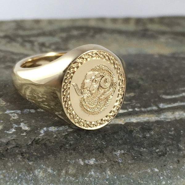 Totem Engraved 13mm x 11mm  -  9 Carat Yellow Gold Signet Ring