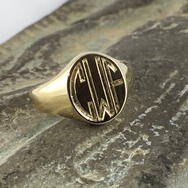 3 Initials Engraved 13mm x 11mm  -  9 Carat Yellow Gold Signet Ring