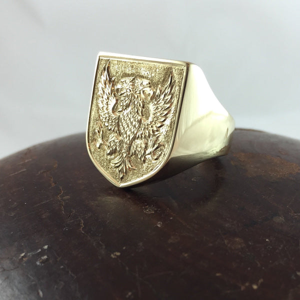 Large Shield Shape Deep Engraved 19mm x 23mm  -  9 Carat Yellow Gold Signet Ring