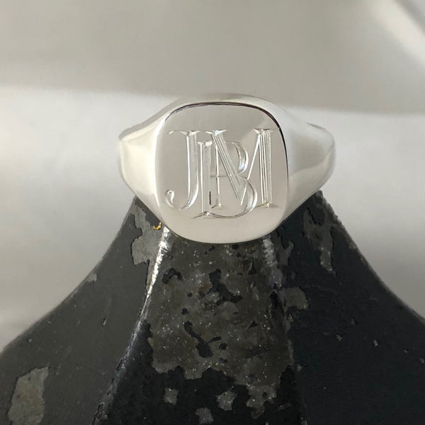 1-3 Initials Engraved  14mm x 13mm Cushion  -  Sterling Silver Signet Ring