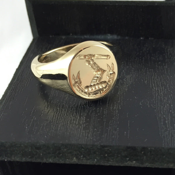 Family Crest Seal Engraved 14mm x 12mm  -  9 Carat Yellow Gold Signet Ring