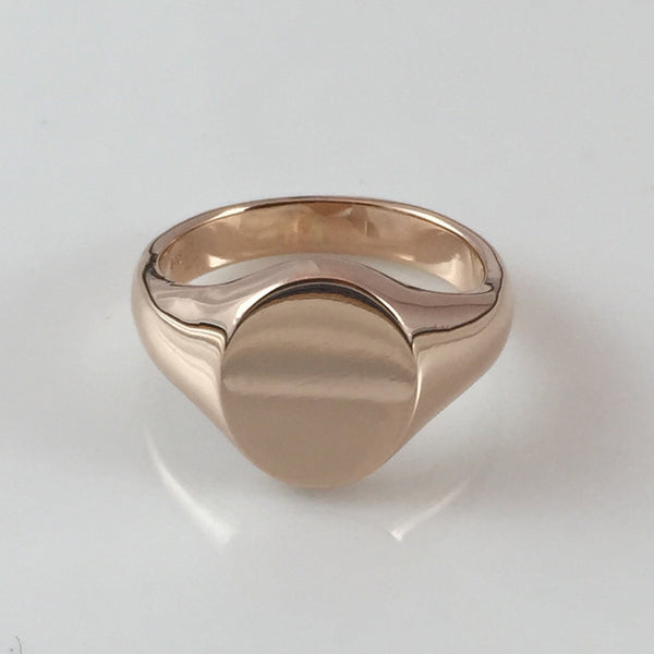 Classic Oval 14mm x 12mm - 9 Carat Rose Gold Signet Ring