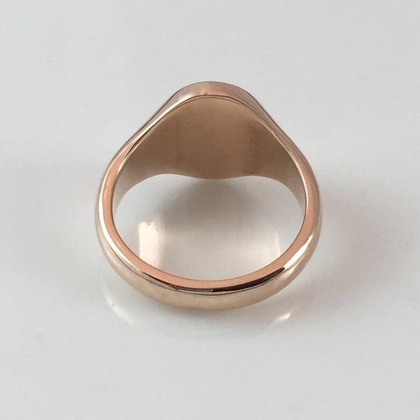Classic Oval 14mm x 12mm - 18 Carat Rose Gold Signet Ring