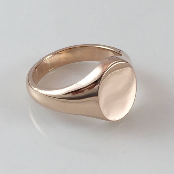 Classic Oval 16mm x 13mm - 9 Carat Rose Gold Signet Ring