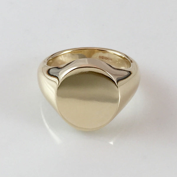 Classic Oval 13mm x 11mm - 18 Carat Yellow Gold Signet Ring