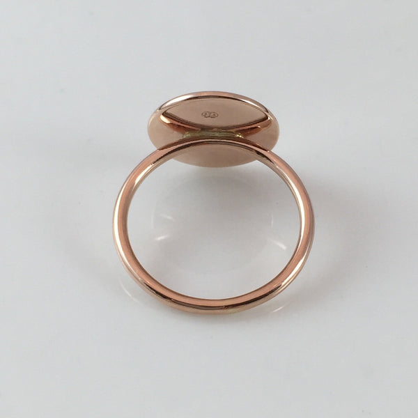 3 Initials Surface Engraved 15mm Round  -  9 Carat Rose Gold Signet Ring