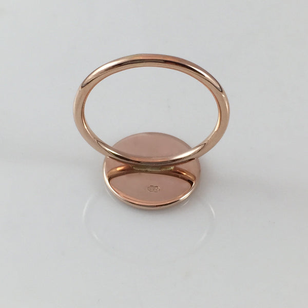Round 15mm  -  9 Carat Rose Gold Signet Ring