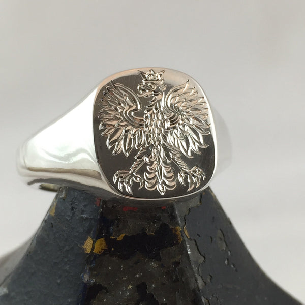 Totem Engraved 14mm x 13mm Cushion Sterling Silver Signet Ring