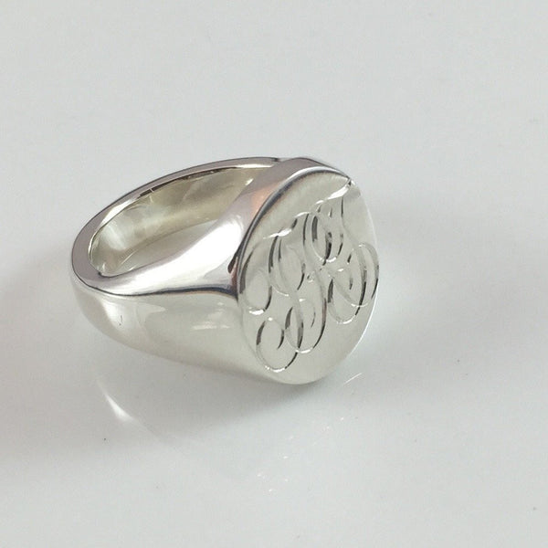 3 Initials Engraved  20mm x 16mm  -  Sterling Silver Signet Ring