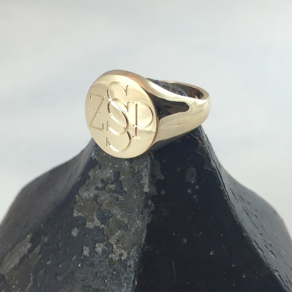 4 Initials Engraved  13mm Round  -  18 Carat Yellow Gold Signet Ring