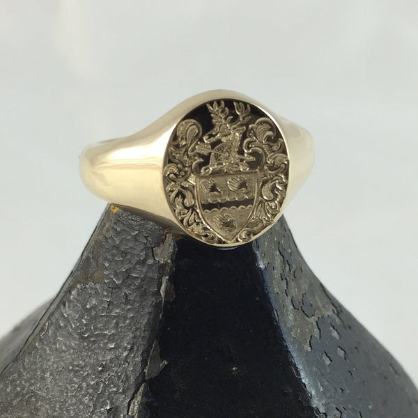 Family Coat of Arms Surface Engraved 14mm x 12mm  -  9 Carat Yellow Gold Signet Ring
