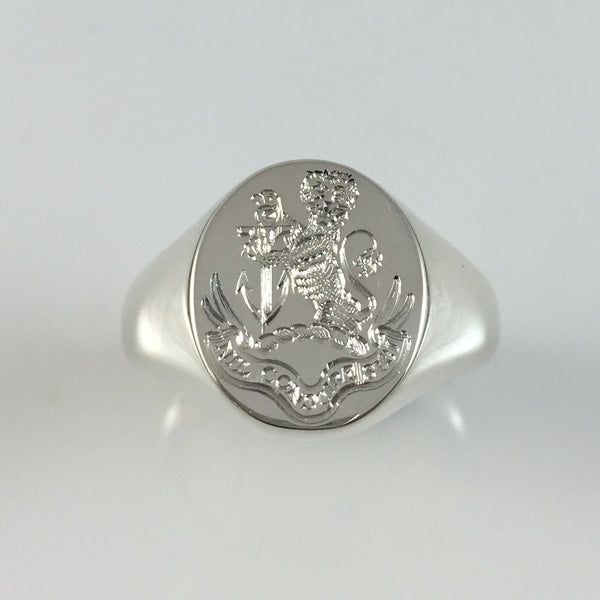Family Crest Surface Engraved 14mm x 12mm  -  9 Carat White Gold Signet Ring