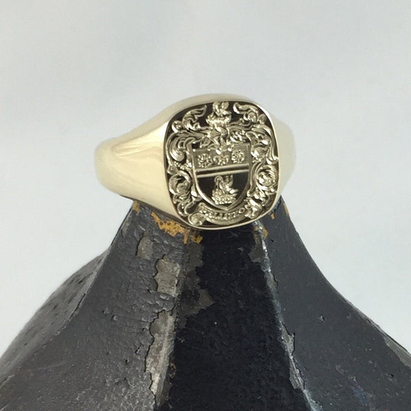 Family Coat of Arms Engraved 14mm x 13mm  -  18 Carat Yellow Gold Signet Ring