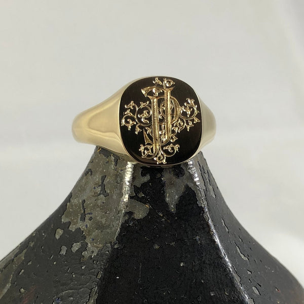 2 Initials Deep Engraved  14mm x 13mm Cushion  -   9 Carat Yellow Gold Signet Ring