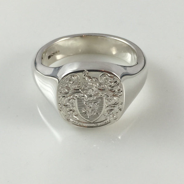 Family Coat of Arms Engraved 14mm x 13mm  -  Sterling Silver Signet Ring