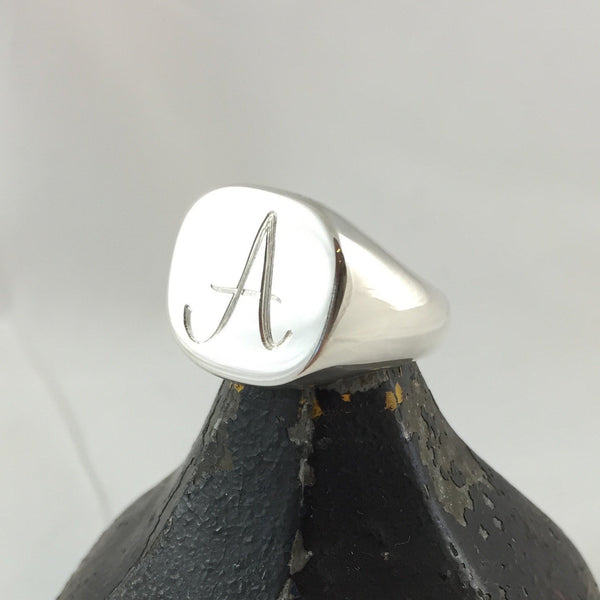engraved 16mm x 16mm sterling silver cushion signet ring
