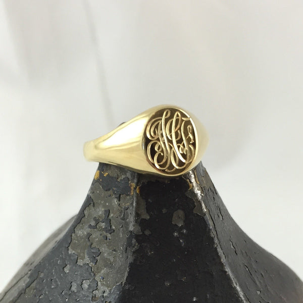 3 Initials Engraved  11mm x 9mm Oval  -  9 Carat Yellow Gold Signet Ring