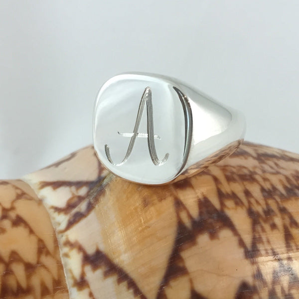 1 Initial Engraved  16mm x 16mm  - Sterling Silver Signet Ring