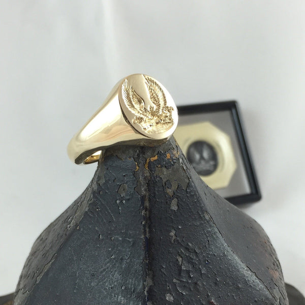 Family Crest Seal Engraved 16mm x 13mm  -  9 Carat Yellow Gold Signet Ring