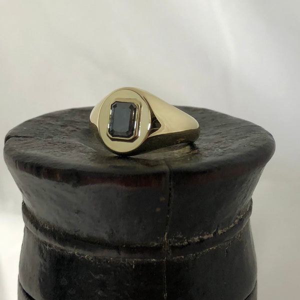 Salt and Pepper Diamond Set  11mm x 9mm Oval -  9 Carat Yellow Gold Signet Ring