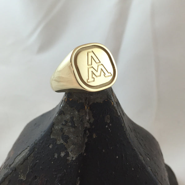 1 initial engraved cushion gold signet ring