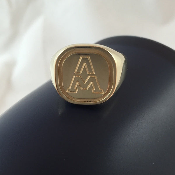 1 Initial Engraved  16mm x 16mm  - 9 Carat Yellow Gold Signet Ring