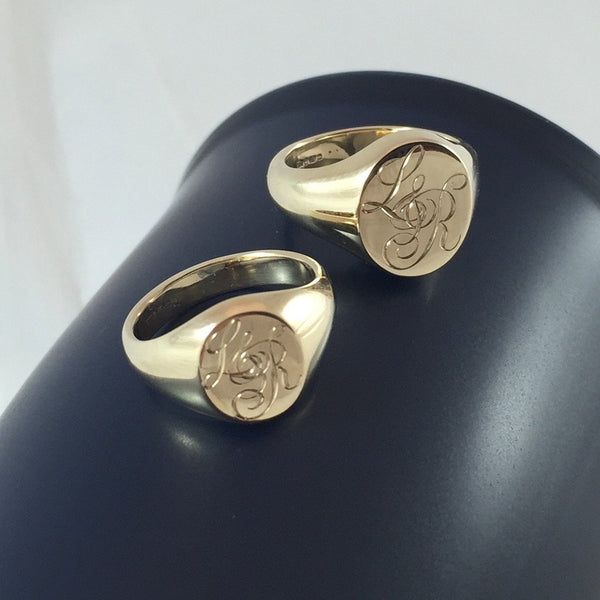 "3 Initials Engraved ""HIS and HER"" -  9 Carat Yellow Gold Signet Rings"