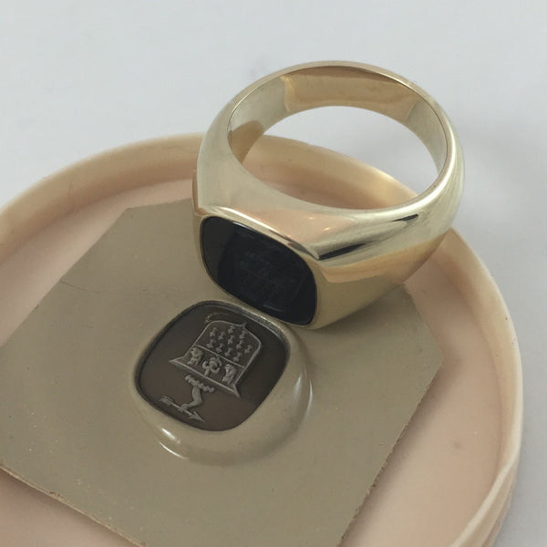 Seal Engraved Onyx Custom Made 12mm x 11mm  -  9 Carat Yellow Gold Signet Ring