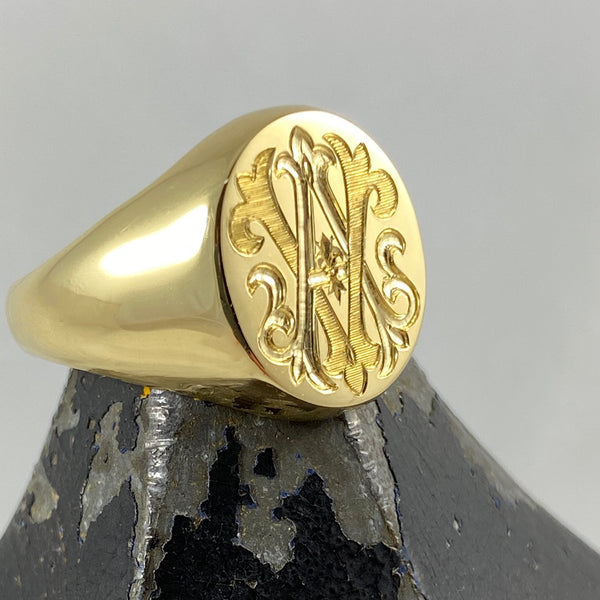 Monogram Engraved  16mm x 13mm  -   18 Carat Yellow Gold Signet Ring