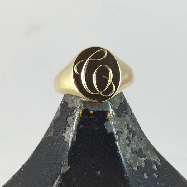 1-3 Initials Engraved  13mm x 11mm  -  9 Carat Yellow Gold Signet Ring
