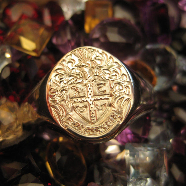 Family Coat of Arms Engraved  13mm x 11mm -  18 Carat Yellow Gold Signet Ring