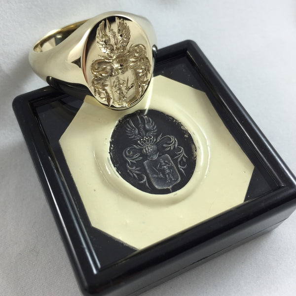 Family Coat of Arms Seal Engraved 18mm x 13mm -  9 Carat Yellow Gold Signet Ring