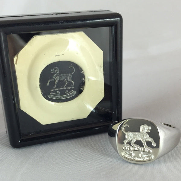 Family Crest Seal Engraved 14mm x 13mm  Cushion -  9 Carat White Gold Signet Ring