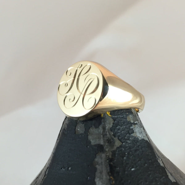 2 Initials Engraved  13mm Round  -  18 Carat Yellow Gold Signet Ring