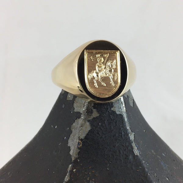 Family Crest Seal Engraved 16mm x 13mm  -  18 Carat Yellow Gold Signet Ring