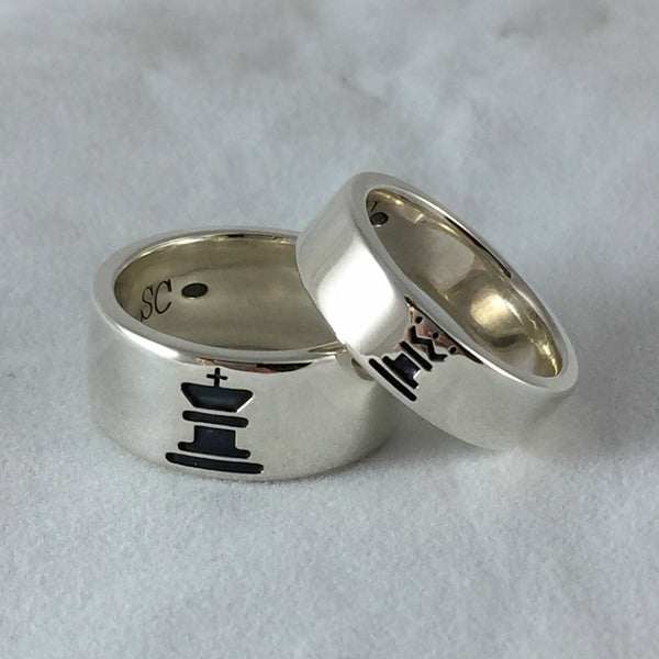 King Queen Custom Made His and Her Rings