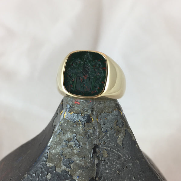Seal Engraved Bloodstone Custom Made 12mm x 11mm  -  9 Carat Yellow Gold Signet Ring