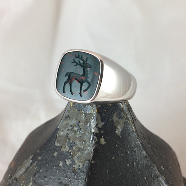 Seal Engraved Bloodstone Custom Made 14mm x 14mm  -  18 Carat White Gold Signet Ring