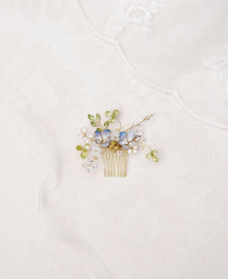 Pansy and clover hair comb   Elibre handmade