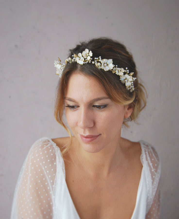 Bridal blushing flower hair crown | Elibre handmade
