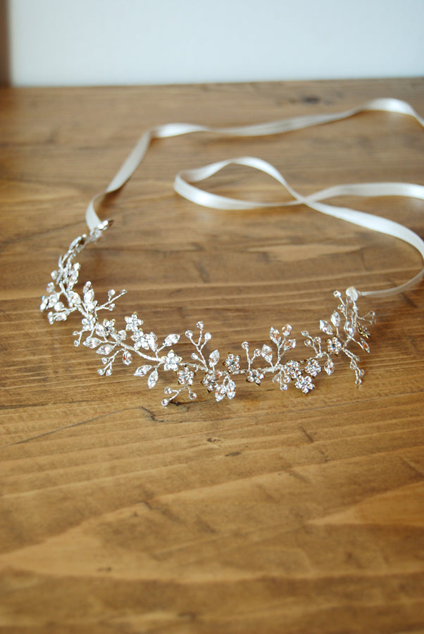 bridal crystal hair crown made by and for Elibre handmade