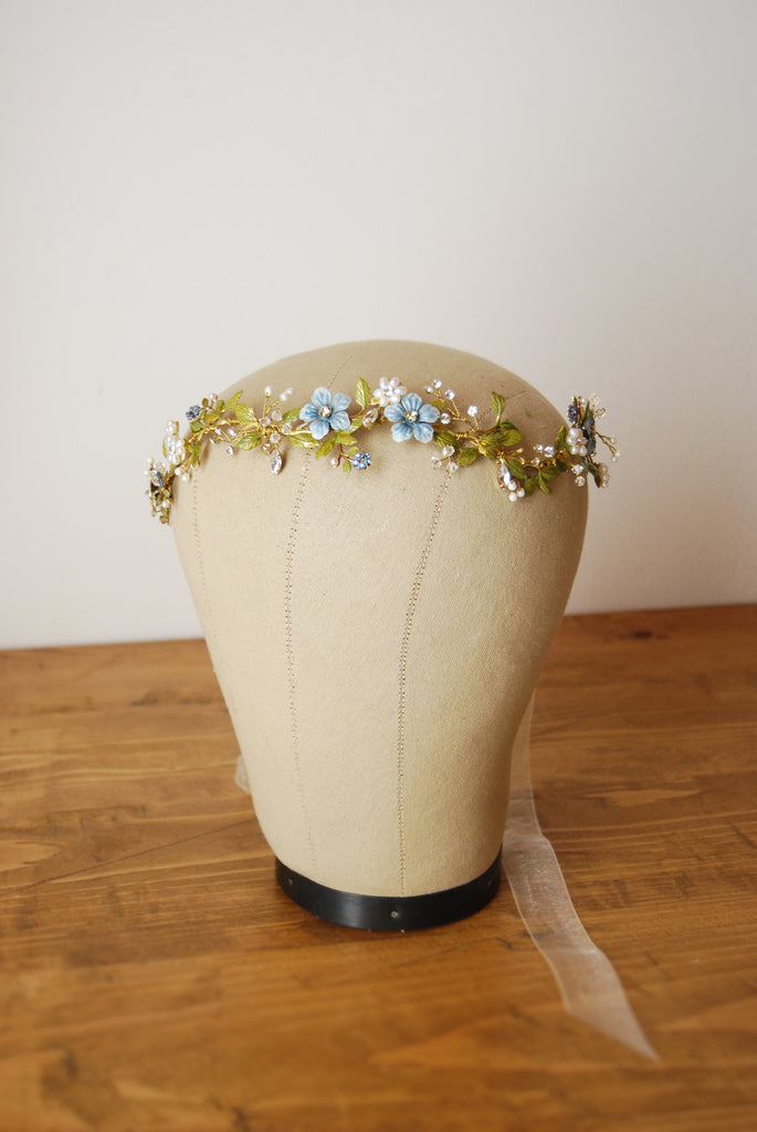 Flower light blue hair crown | Elibre handmade