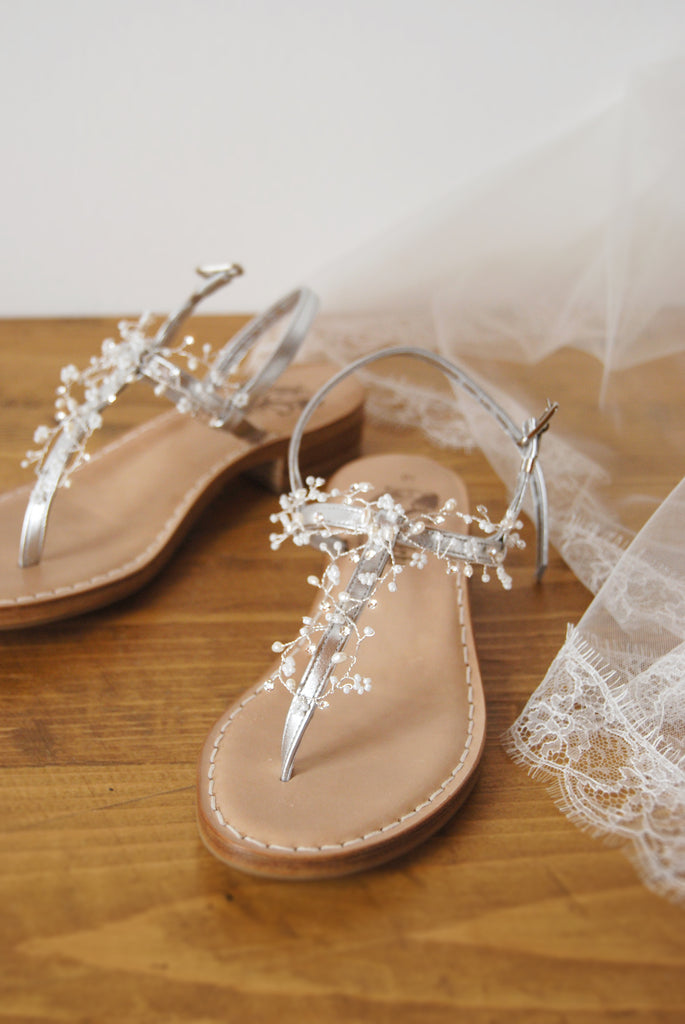 wedding silver shoes decorated