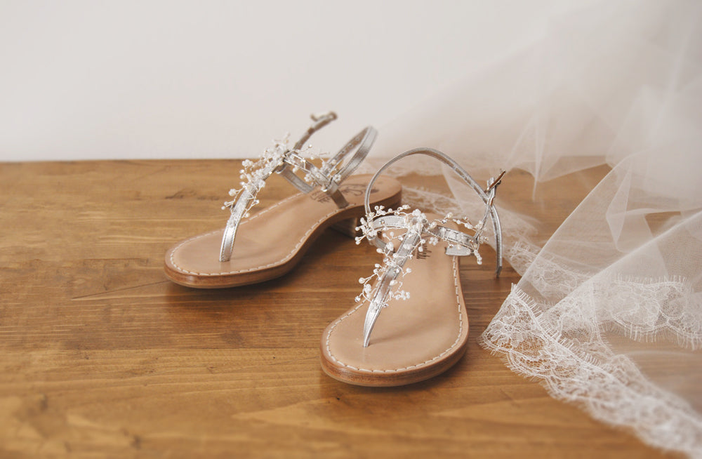 wedding leather silver shoes