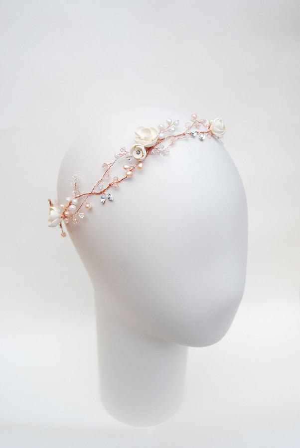 Bride flower halo in rose gold - bespoke hair piece for bride | Elibre handmade